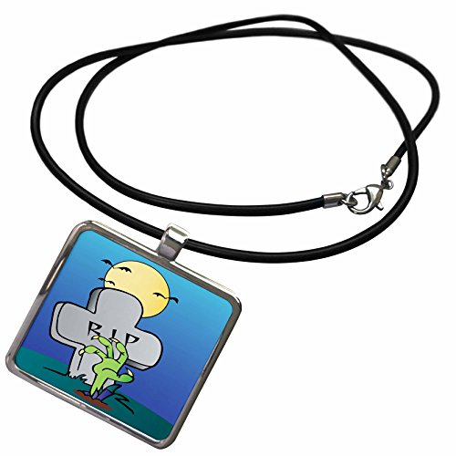 3dRose Dooni Designs Halloween Designs - Zombie Hand Coming Out of Ground Grave RIP Tombstone Haunted Halloween Cartoon Design - Necklace With Rectangle Pendant (Cartoon Tombstone)