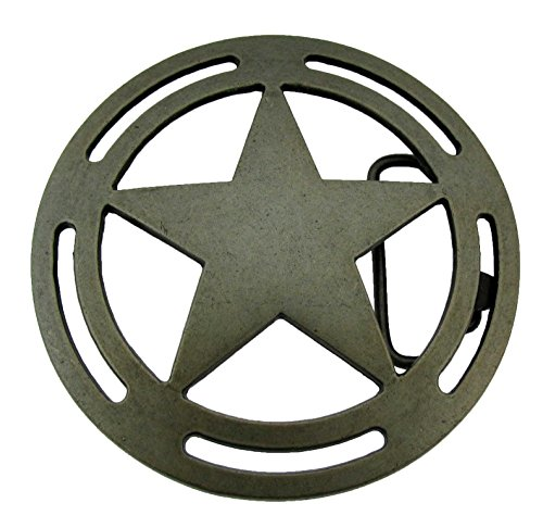 Lone Star Belt Buckle State Texas Trooper Badge Brushed Metal Western New Cowboy from buckleszone.
