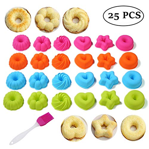 25-Pcs Fluted Cake Pan Set| Silicone Fancy Dessert Mold and Basting Brush, 2.95 Inch Small Bundt Cake Cups| Pumpkin, Star, Flower, Heart, Savarin Shapes Mould For Doughnut, Mini Cakes, Cookie, Sushi by KeepingcooX