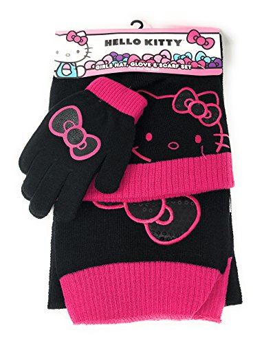 Hello Kitty Girls Knit Hat, Gloves and Scarf -