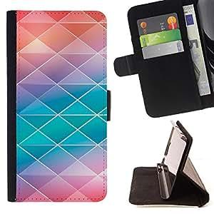 - Polygon Real Pink Blue Pattern - Estilo PU billetera de cuero del soporte del tir???¡¯???3n [solapa de cierre] Cubierta- For Samsung Galaxy A3 ( Devil Case )