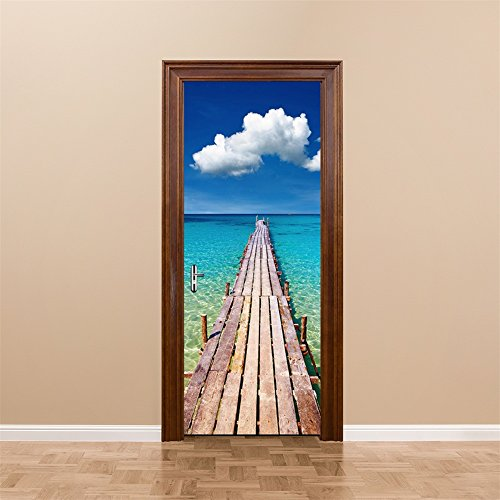 CaseFan 3d Door Wallpaper Murals Wall Stickers–Beach for Home Decoration Self-adhesive Vinyl Removable Art Door Decals 30.3×78.7″