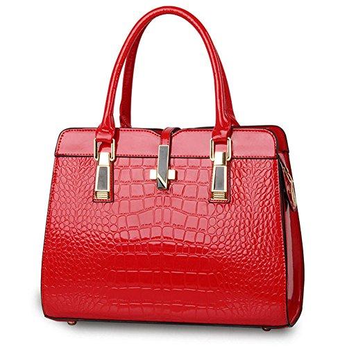 QCKJ Mode Kreuz Körper Schulter Beutel europäische Art Frauen PU Krokodil Muster Handtaschen Rot kkpeMb