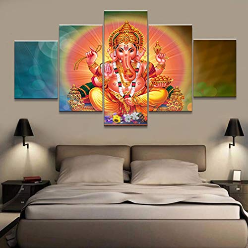 HIOJDWA Paintings Art Print Framework Home Decor Elephant God Vintage Canvas Wall Modular Picture 5 Panel Ganesh for Living Room Painting