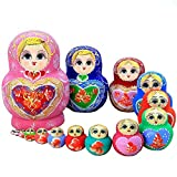 Matryoshka Nesting Dolls Nesting Dolls 15 Piece, Children's Wooden Stacked Nesting Handmade Toys Kids Best Gift