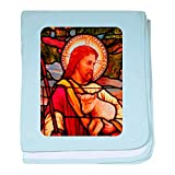 Royal Lion Baby Blanket Jesus Christ Lamb Stained Glass - Sky Blue