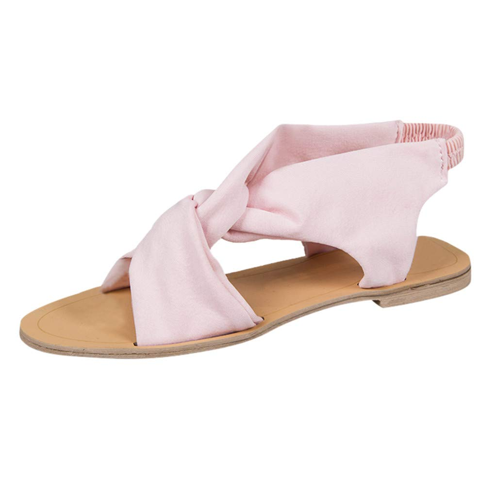 Sharemen Women's Fashion Casual Peep Toe Open Toe Beach Sandals Slip On Flat with Shoes(Pink,US: 8)