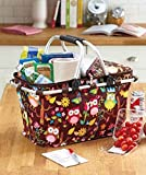 Owl Print Collapsible Insulated Storage Tote Food Drink Basket Portable