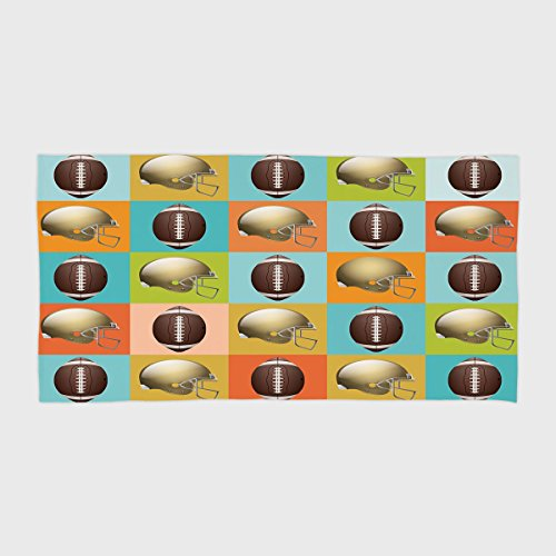 Cotton Microfiber Hotel SPA Beach Pool Bath Hand Towel,Football,Colorful Squares Mosaic Pattern with Protective Helmets and Balls College Activity Decorative,Multicolor,for Kids, Teens, and Adults by iPrint (Image #6)
