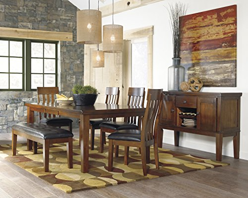 Ralerrine Medium Brown Formal Dining Set, Butterfly leaf Table and 4 Upholstered Side Chair, Bench, Server