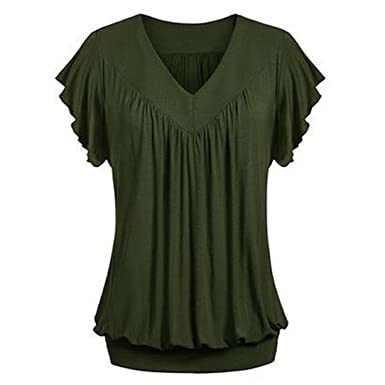 0a002caf Perman Cheap Women Plus Size Tops, Summer Loose Fit V Neck Pleated Elastic  Hem Solid Blouse Tank Vest Tee T Shirt at Amazon Women's Clothing store: