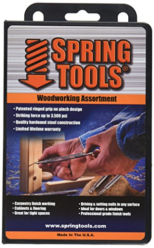 SpringTools WWA996 4 Piece Woodworking Set with Center Punch, Nail Set, Combo Nail Set, Self Centering Brad Setter, Self Centering Center Punch ()