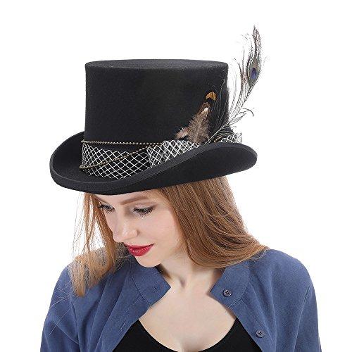 Sombreros Sombrero Scsy De Wen Negro Tamaño Negro Mujeres 59cm Steampunk Lana Superior color Fedora Gear Hat Ala sombrero rXqRXxv