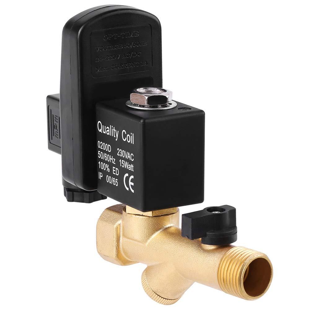 Tanque de Aire de Acci/ón Directa Unidireccional AC230V Presi/ón de 0-1.6Mpa 1//2 V/álvula de Drenaje Electr/ónica Autom/ática para Compresor de Aire V/álvula de Drenaje