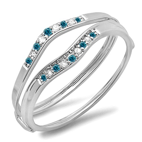 0.12 Carat (ctw) 10K Gold Round Blue & White Diamond Ladies Anniversary Enhancer Guard Wedding Band