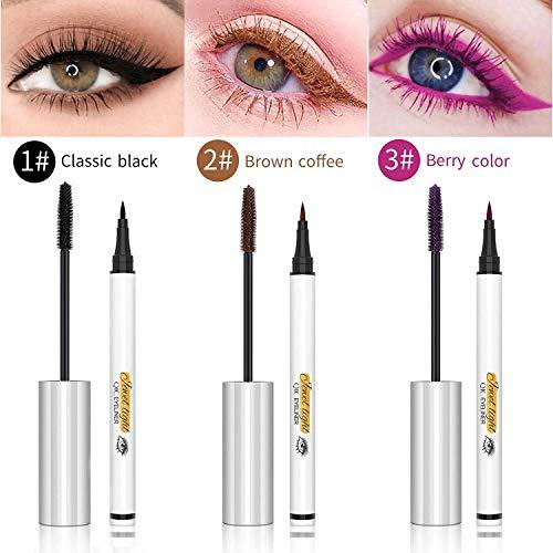 4D Silk Fiber Lash Mascara & Liquid Eyeliner Set, Long Lasting Waterproof, Lengthening Thickening Eyelashes, Smudge-proof, Natural Formula, Best Volumirous Eyelash Makeup