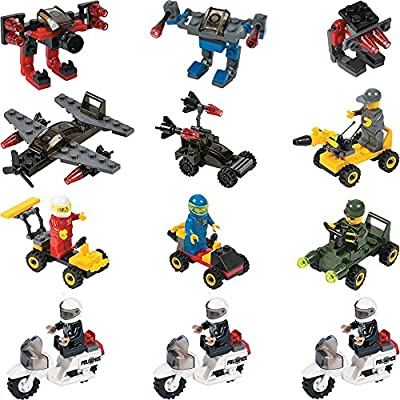 12 Mini Building Block Vehicle Sets Police Motorcycle Army Planes Army Jeep Character Vehicle Cars Robots Party Favor Stocking Stuffer
