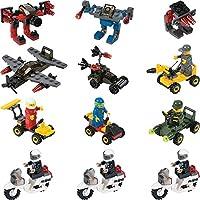 12 Mini Building Block Vehicle Sets Police Motorcycle...