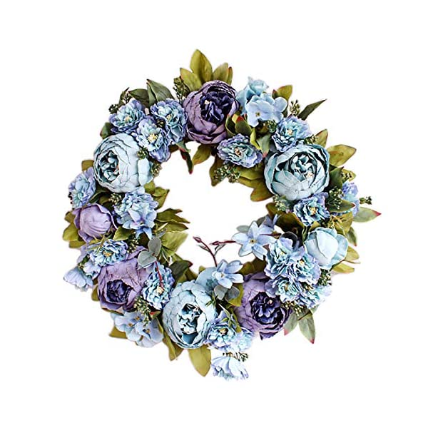MUZI 16″ Artificial Rose Flower Wreath Floral Door Wreath with Green Leaves for Front Door Wedding Window Wall Home Holiday Decor-D