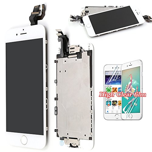 Screen Replacement For iPhone 6 LCD Touch Display – White Recyco Full Set With Frame Glass Digitizer Assembly with Home Button and Camera
