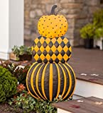 Plow & Hearth Stacked Pumpkins Painted Metal Garden Stake - 19.88 L x 1.57 W x 47.64 H
