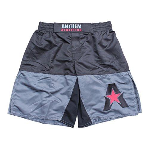 (Anthem Athletics 50/50 MMA Fight Shorts - BJJ, Muay Thai, WOD, Cross-Training, OCR - Black, Grey & Red - X-Large)