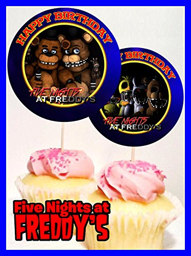Crafting Mania LLC. 12 Five Nights at Freddy's Birthday Inspired Party Picks, Cupcake Picks, Cupcake Toppers #1 by Crafting Mania LLC.