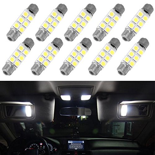 (Partsam 10pcs White 6-5050-SMD LED Bulbs 44mm Festoon Cap Lamps for Car Interior Dome Map Trunk Cargo Step Door Lights 12V - 561 562 564 570 571 577 578 211-2 212-2 214-2)