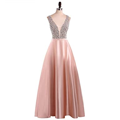 25db3d5c00 YuNuo Gorgeous V Neck Beaded Crystal Long Prom Dresses 2019 Evening Dress  Long Formal Party Gowns at Amazon Women s Clothing store