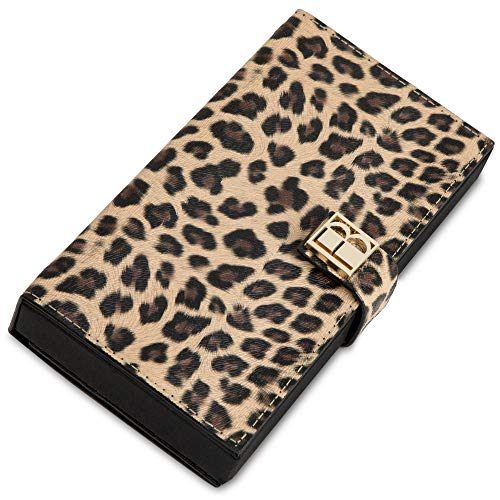 Wild Magnetic Makeup Clutch Handbag: Leopard Cosmetic Organizer with Mirror, Wallet, and Phone Case - Textured Vegan Leather, Silk Fabric Lining, Magnetic Base, Travel Accessory