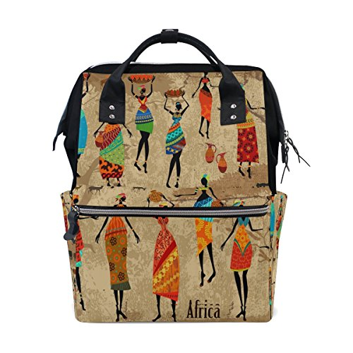 WOZO Vintage Beautiful African Women Diaper Bags Backpack Travel Bag by WOZO