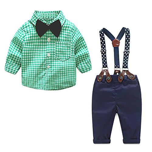 Shirt Target Dress (Top and Top 2 Pieces Baby Boys Long Sleeve Plaid Shirt Overalls Set with Bow (70/0-6 Months, Green))