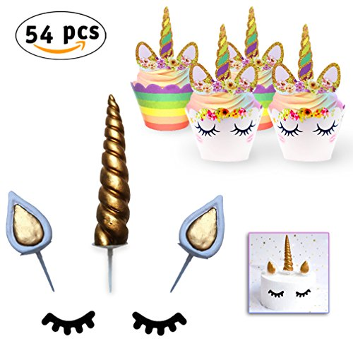 Unicorn Cake & Cupcake Toppers Decoration Set - 24 Double Sided Cupcake Wrappers and 24 Toppers. Unicorn Cake Toppers: Handmade Horn, Ears and Eyelashes. Kids Birthday Theme Party, Baby Shower (Wrapper Theme)
