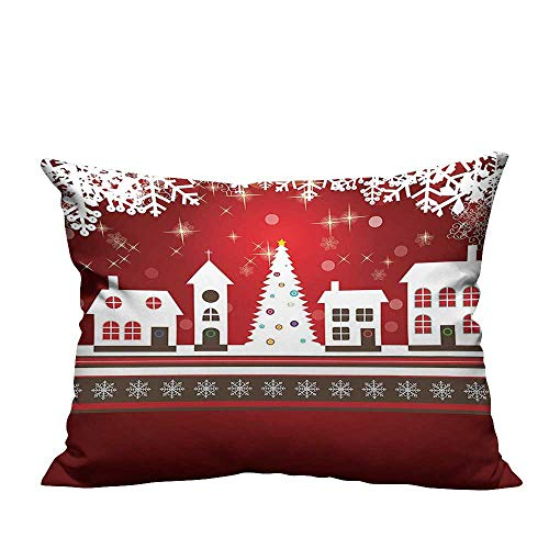 (YouXianHome Home DecorCushion Covers Winter Holidays Themed Gingerbread Houses Xmas Tree Lights and Snowflakes Image Comfortable and Breathable(Double-Sided Printing) 12x16 inch)