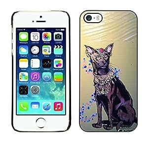 PC/Aluminum Funda Carcasa protectora para Apple Iphone 5 / 5S Havana Brown Egyptian Art Cat Royal / JUSTGO PHONE PROTECTOR