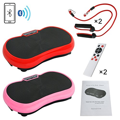 Full Body Vibration Platform Massage Machine Workout Trainer w/Resistance Bands and Remote Control Included Bluetooth Music Connection Set of 2 by Nova Microdermabrasion (Image #9)