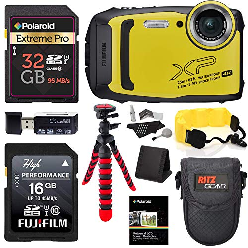 Fujifilm Finepix XP140 (Yellow) Point and Shoot Camera Bundle with Memory Cards, Tripod, Float Strap, Memory Card Reader and More ()