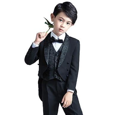 d7df0c0425993 Cnstone 子ども用タキシード 黒 ブラック フォーマルスーツ 子供スーツ 男の子 ベビータキシード 燕尾服 結婚式