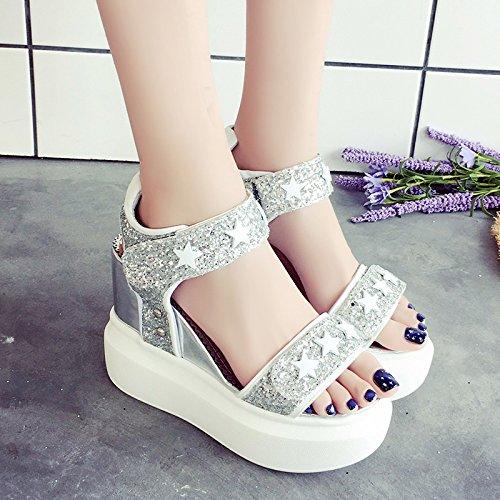 RUGAI-UE Sandalias de suela gruesa Mujer Verano Sequined Waterprohigh-Heeled Zapatos Zapatos de mujer Silvery