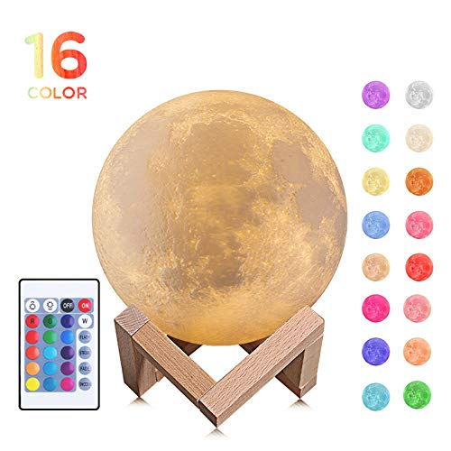 3D Moon Lamp, Moon Night Light 16 LED Colors Dimmable Lunar Night Light Rechargeable Glowing Light with Wooden Stand, Touch, Remote& Tap Control, Nursery Room Decor for Baby Kid Girls Gift, 5.9 Inch