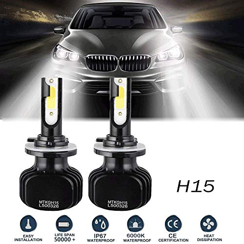 (H15 LED Headlight Bulbs Conversion Kit High Beam DRL Lamp Headlamp 200W 20000LM 6000K For Volkswagen Golf 6 7/Touran/Touareg/BMW 220I/Benz GLK/A180/A45 AMG/Audi A3/A6)