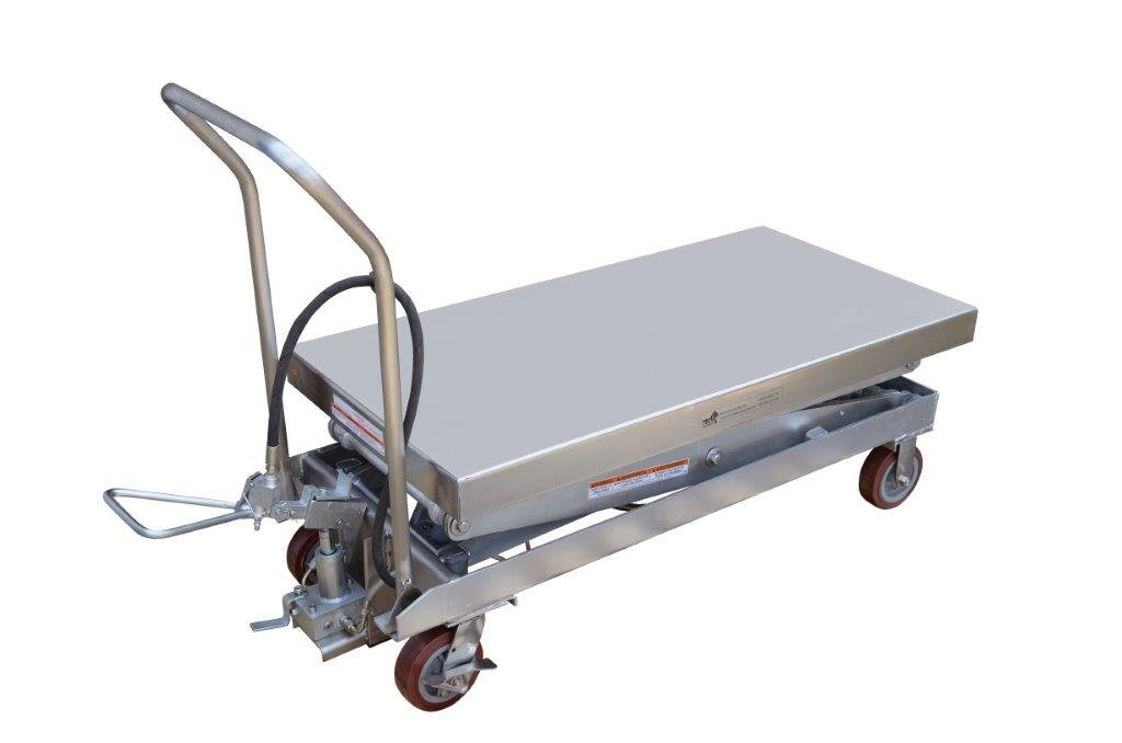 Air Scissor Lift - BAIR-D Series; Construction: Partially Stainless Steel; Platform Size (W x L): 24'' x 47-1/4''; Capacity (LBS): 1,500; Service Range: 19-1/2'' to 67''; Caster Size: 6'' x 2''