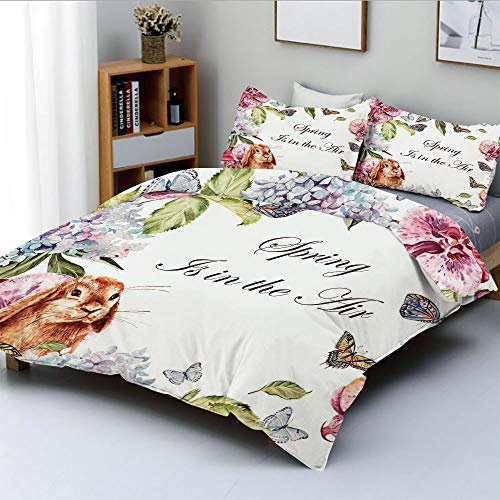 Duplex Print Duvet Cover Set Twin Size,Hyacintha Flowers Rabbits Orchid Butterfly Leaves Botany Bouquet Watercolor ArtDecorative 3 Piece Bedding Set with 2 Pillow Sham,Multicolor,Best Gift for Kids &