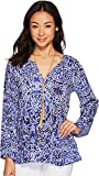 Lilly Pulitzer Women's Willa Top Bright Navy TAVERNA Tile All Over XX-Small