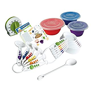 Curious Chef Kids Cookware - 17-Piece Measure & Prep Kit I Real Utensils, Dishwasher Safe, BPA-Free I Includes Measuring Cups & Spoons, Prep Bowl Set, Kitchen Timer and More!