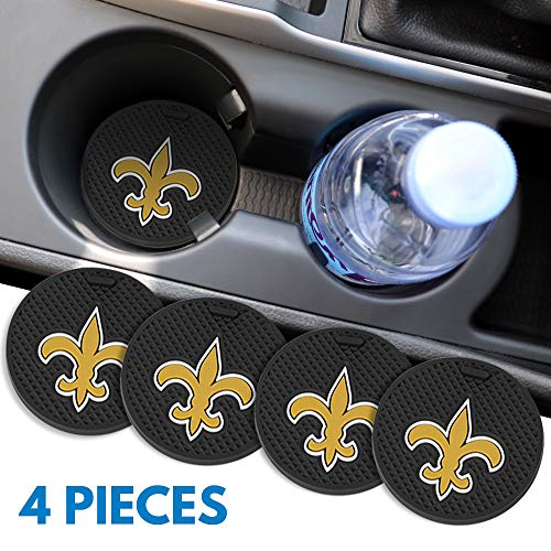 Ysiueng 4 Pack Anti Slip Cup Mat 2.75 inch for New Orleans Saints Car Interior Accessories Silicone Car Coaster for All…