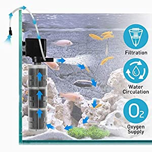 XpertMatic Aquarium Filter DB-368F, 475GPH Fish Tank Filter, 3 Stages Quiet Internal Filter with Submersible Water Pump for Up to 264 Gallon Fish Tank, Aquarium
