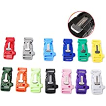 "Mix 14pcs Pack Each Color 1pcs 3/4"" Side Release Survival Kits Emergency Whistle Buckle Flint Fire Starter for Parachute 550 Cord Paracord Bracelet Ourdoor Hiking Camping Backpack Bag Parts#FLC160-C"