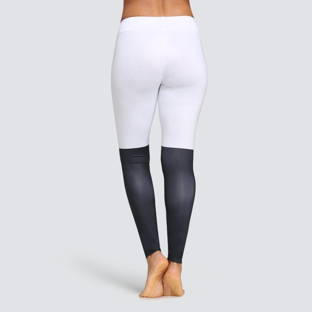 a731999cbc0cc Amazon.com: Fashion Women Leggings Yoga Sport Mid Waist Cat Print Color  Block Skinny Pants: Clothing