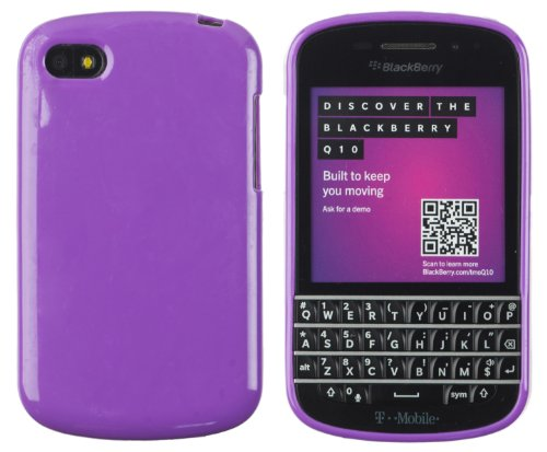 Premium Colorful Glossy Flexible TPU Gel Case for BlackBerry Q10 - Includes DandyCase Keychain Screen Cleaner [Retail Packaging by DandyCase] (Purple)